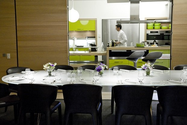 The Alain Ducasse Cooking School is a contemporary space located on Rue du Ranelagh in the heart of Paris's 16th arrondissement,