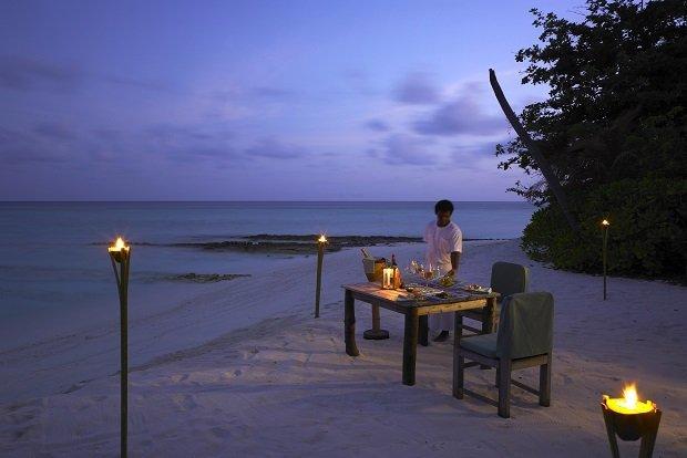 Soneva Fushi dining on the beach